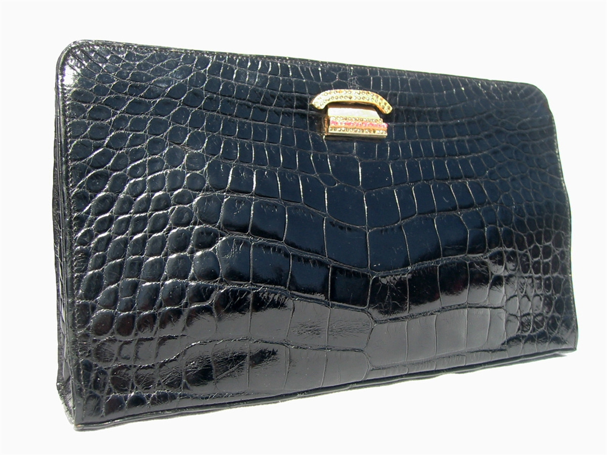 e4128fc4cb0b ... Jeweled ROSENFELD 1960 s Black ALLIGATOR Belly Skin CLUTCH Bag. Image  1. Loading zoom