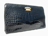 Jeweled ROSENFELD 1960's Black ALLIGATOR Belly Skin CLUTCH Bag