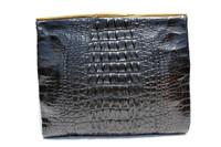 Classic Jet Black 1940's HORNBACK ALLIGATOR Skin CLUTCH Bag