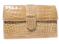 SISO 1990's Tan ALLIGATOR Belly Skin CLUTCH Shoulder Bag - ITALY