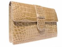 SISO 1990's Tan ALLIGATOR Belly Skin CLUTCH Shoulder Bag - ITALY