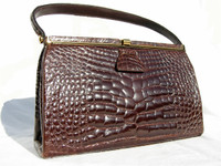 Stunning RENDL 1950's-60's ALLIGATOR Belly Skin Handbag