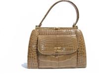 DARK TAN 1950's-60's Alligator Skin Handbag - LUCILLE DE PARIS