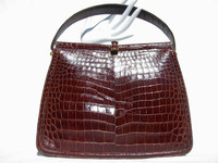 Timeless LUCILLE de PARIS 1950's-60's Chocolate Alligator Handbag
