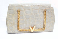 RARE 1980's SACHA Pearl Alligator Skin CLUTCH Handbag - FRANCE