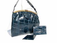1940's-50's TEAL BLUE Alligator Skin Handbag w/Accessories!