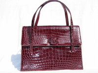 RUBY RED 1950's-60's Alligator Skin Handbag - LUCILLE de PARIS