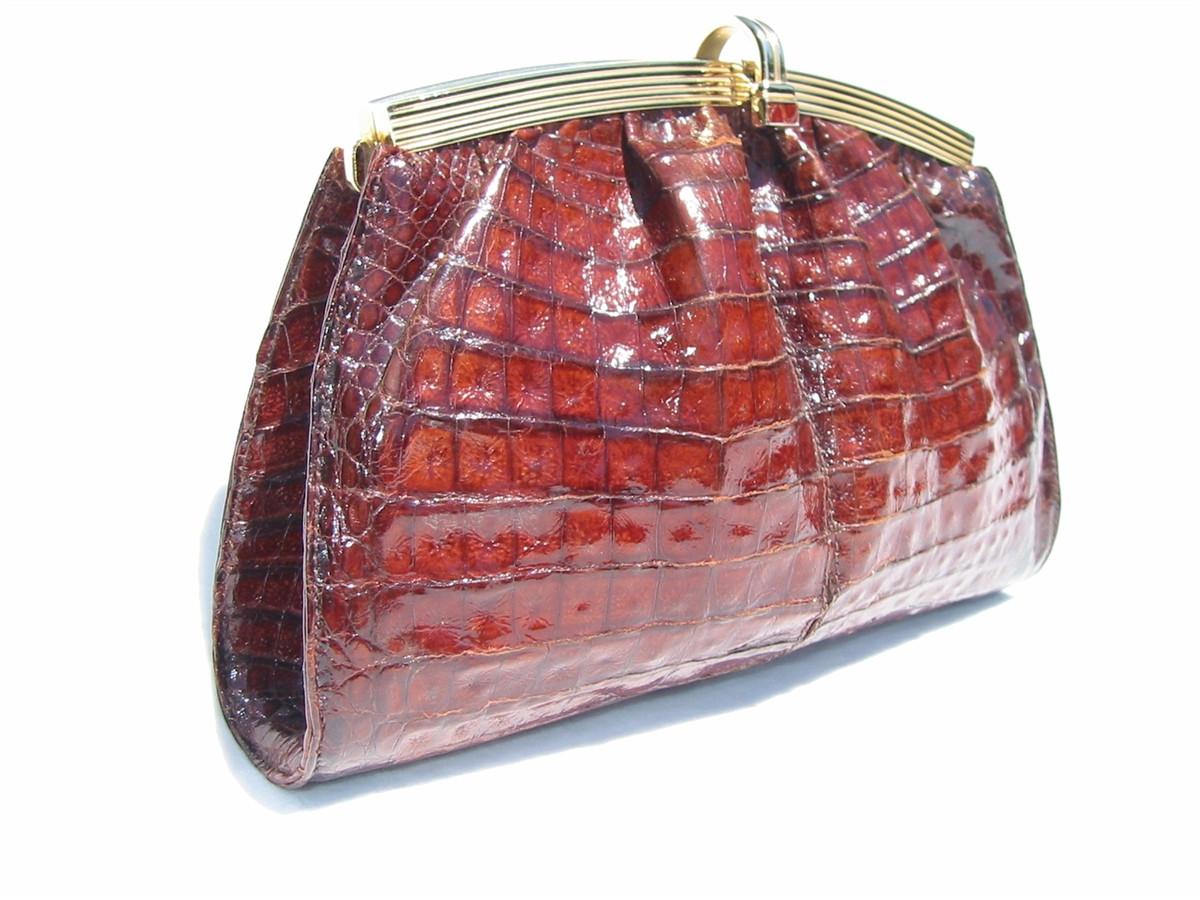 12a51b45ae0f ... DARK COGNAC 1990 s Crocodile Skin CROSS Body Shoulder Bag CLUTCH. Image  1