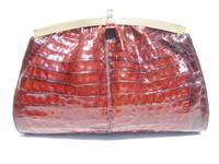 DARK COGNAC 1990's Crocodile Skin CROSS Body Shoulder Bag CLUTCH
