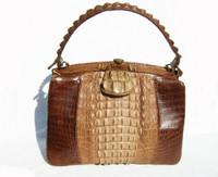 DRAMATIC 1950's-60's Hornback CROCODILE Skin Handbag