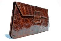 """Ample 13.5"""" 1940's-50's Brown ALLIGATOR Skin Clutch Bag - ARGENTINA"""