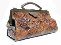 LARGE 1980's Patchwork CROCODILE Skin Doctor Bag Carry-On Luggage