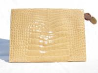 HELENE 1990's Blonde ALLIGATOR Belly Skin CLUTCH Bag - ITALY