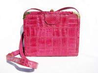 Unique 1990's HOT PINK Patchwork CROCODILE Skin CROSS Body Bag