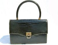 FOREST GREEN 1960's-70's CROCODILE Porosus Skin Handbag - SPREAFICO - Milano