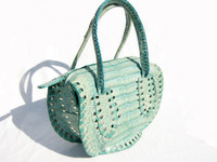 TURQUOISE Early 2000's Studded CROCODILE Skin Handbag - FALCHI
