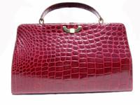 "XL 15"" Classic 1960's CRANBERRY Red Spritzer & Fuhrman CROCODILE Belly Handbag - GRIMALDI"