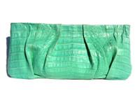 "Stunning Early 2000's 14"" MINT GREEN Crocodile Belly Skin CLUTCH"