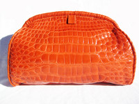XL 14 x 10 ORANGE 1990's Crocodile Belly Skin CLUTCH Shoulder Bag - ITALY