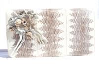 Cream & Gray 1970's-80's Sea Snake Skin Shoulder Bag Clutch - Custom Flowers!