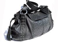 XL 2000's Black OSTRICH SKIN Shoulder Bag - NINA RAYE!