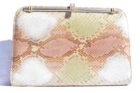1970's-80's Pink Green & White PASTEL PYTHON Snake Skin Clutch SHOULDER Bag