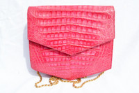 1990's HOT PINK CROCODILE Belly Skin SHOULDER Bag CLUTCH - SIDONIE LARIZZI