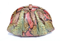 1970's-80's ROSE & GREEN PYTHON Snake Skin Clutch Shoulder Bag