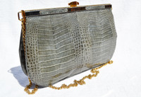 SLATE GRAY 1980's-90's  Crocodile Skin CLUTCH Shoulder Bag