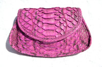 CARLOS FALCHI 1990's-200's Magenta Purple Python Snake Skin Clutch Shoulder Cross BodyBag