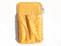 New! Yellow CROTON Genuine Ostrich Skin Phone Case Holder ID Wallet
