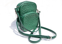 GREEN 1990's-2000's Ostrich Skin Cross Body Shoulder Bag