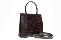 GIORGIO'S Palm Beach Chocolate BROWN ALLIGATOR Belly Skin Handbag Shoulder Bag