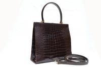 GIORGIO'S Palm Beach Chocolate BROWN ALLIGATOR Belly Skin Handbag Shoulder Bag