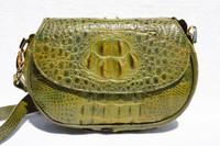 OLIVE GREEN  1990's-2000's HORNBACK Crocodile Skin CLUTCH Cross Body Shoulder Bag