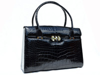 XL 1980's-90's Jet Black ALLIGATOR Belly Skin Handbag Shoulder Bag SATCHEL