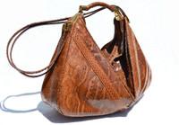 "Versatile 15"" Dark CARAMEL 1980's-90's PYTHON Snake Skin Handbag Shoulder Bag"