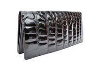 Sleek JET BLACK 1980's-1990's ALLIGATOR Belly Skin Clutch Bag