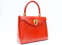 TOMATO RED CROCODILE Belly Skin Handbag SATCHEL - VASADINA - ITALY