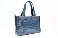 1990's-2000's DENIM BLUE Crocodile Belly Skin Tote Satchel Bag