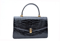 1990's-2000's Jet Black ALLIGATOR Belly Skin Handbag Shoulder Bag