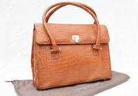 BURNT ORANGE Crocodile Belly Skin Handbag SATCHEL - Lambertson Truex