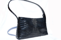 New! BLACK Hornback Crocodile Skin Shoulder Bag - RIVER