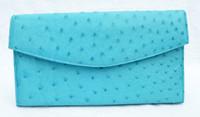 1990's-2000's TURQUOISE Blue OSTRICH Skin Clutch Shoulder Bag