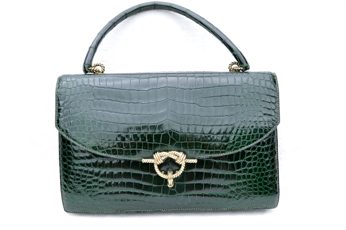 9e72dd048a Vintage 1950's-60's HERMES Sac Cordeliere CROCODILE POROSUS Handbag ...