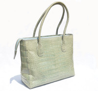 Early 2000's Desert Sage GREEN Crocodile Belly Skin Tote Satchel Bag