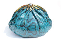 1980's-90's TEAL Blue PYTHON Snake Skin Clutch Shoulder Bag