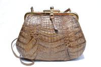 Cocoa BROWN 1990's Crocodile Skin Cross Body Shoulder Bag - IRV