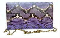 1970's-80's Purple PYTHON Snake Skin CLUTCH Shoulder Bag - Chic de Paris