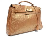 1990's-2000's BRONZE Metallic Genuine Ostrich Skin Birkin Style Handbag